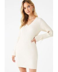 Forever 21 Ribbed Bodycon Sweater Dress - Natural