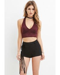Forever 21 - Fringed Faux Suede Shorts - Lyst