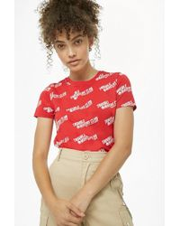 Forever 21 - Trouble Makers Club Graphic Tee , Red/white - Lyst