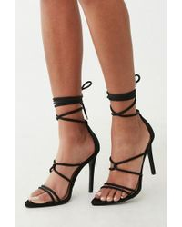 4f423d94b8 Forever 21 Strappy Lace-up Sandals in Black - Lyst