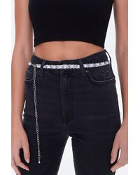 Forever 21 Faux Patent Leather Chain Hip Belt - Blue