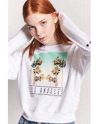 adddd32ae7d0d Forever 21 Los Angeles Girls Club Crop Cami in White - Lyst