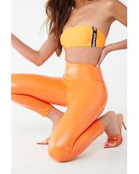 Forever 21 Faux Patent Leather Leggings , Orange