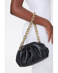 Forever 21 Faux Leather Chain Strap Clutch In Black