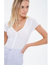 Forever 21 Pointelle Button-front Top - White
