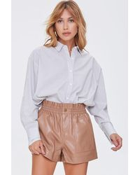 Forever 21 Faux Leather High-rise Shorts - Multicolour