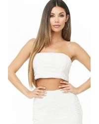 Forever 21 - Cropped Faux Fur Tube Top , Ivory - Lyst