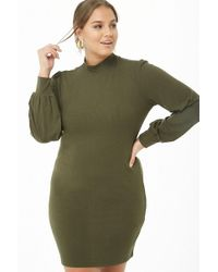 c9bb0a98 Forever 21 - Women's Plus Size Ribbed Balloon-sleeve Mini Dress - Lyst