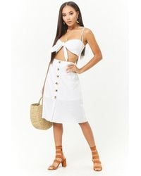 Forever 21 - Reverse Crop Cami & Button-front Skirt Set - Lyst