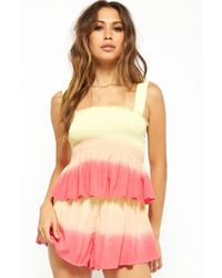 693d25c10566f Forever 21 - Women s Ombre Ruffled Smocked Top - Lyst