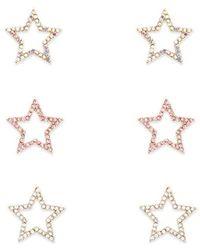 Forever 21 Rhinestone Star Stud Earring Set , Gold/clear - Metallic