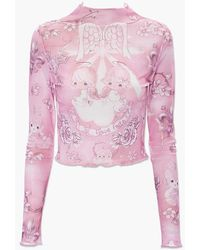 Forever 21 Precious Moments Sheer Mesh Top - Pink