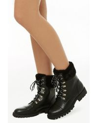 Forever 21 Faux Fur-trim Combat Boots , Black