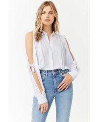 Forever 21 - Pinstripe Open-shoulder Shirt - Lyst