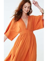 Crochet Lace Trim Maxi Dress Orange