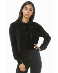 Forever 21 - Ribbed Velour Hooded Top - Lyst