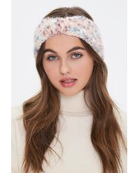Forever 21 Fuzzy Knit Headwrap In Pink - Brown