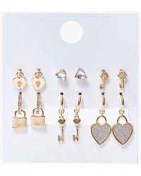 Forever 21 Lock & Key Charm Hoop & Stud Earring Set - Metallic