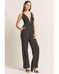 Forever 21 - Pinstripe Plunging Woven Jumpsuit - Lyst