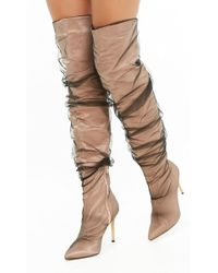 Forever 21 Mesh Stiletto Over-the-knee Boots - Natural