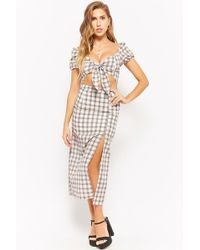 Forever 21 Plaid Tie-front Top & Skirt Set , Ivory/multi - Multicolor