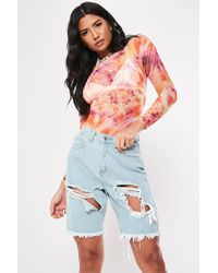 Missguided - Distressed Bermuda Shorts At - Lyst
