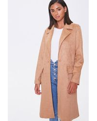 Forever 21 Faux Suede Duster Jacket - Multicolor