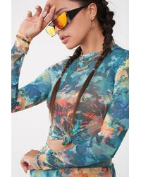 Forever 21 Abstract Print Top , Teal/red - Blue