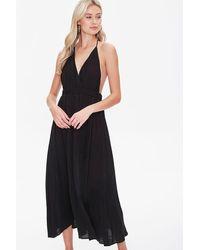 Forever 21 Plunging Halter M-slit Dress - Black