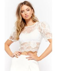 e437a8e76a903 Lyst - Forever 21 Sheer Heathered Crochet Lace High-low Top in White