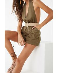 Forever 21 - Women's Belted Plunging Halter Playsuit - Lyst