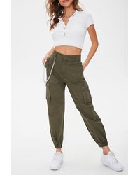 Forever 21 Londyn Curb Chain Cargo Sweatpants - Green