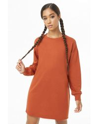 Forever 21 French Terry Sweatshirt Dress , Rust
