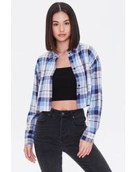 Forever 21 Cropped Flannel Shirt - Blue