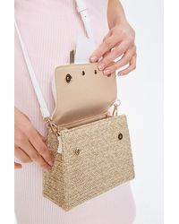 Forever 21 Faux Straw Colorblock Crossbody Bag In Tan/white