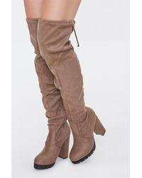 Forever 21 Thigh-high Block Heel Boots - Brown