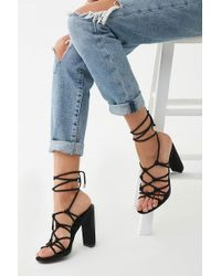 ed1f62ebf9 Forever 21 Faux Leather Cork Wedge Sandals in Black - Lyst