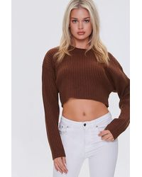 Forever 21 Cropped Dolman Sweater - Brown