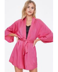 Forever 21 Belted Satin Robe - Pink