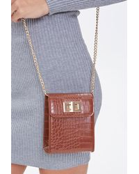 Forever 21 Faux Croc Leather Crossbody Bag - Brown