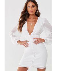 Missguided Chiffon Mini Dress At , White