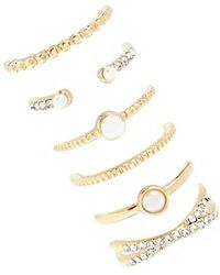 Forever 21 Pearl & Rhinestone Ring Set , Gold/clear