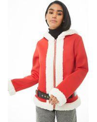 Forever 21 Scuba Knit Santa Jacket - Red