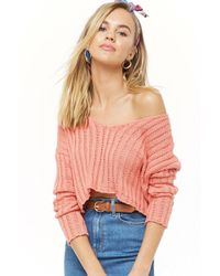 Forever 21 - Women's Ribbed Off-the-shoulder Cropped Jumper - Lyst