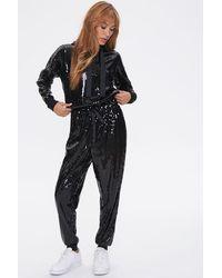Forever 21 Sequin Hoodie & Sweatpants Set - Black