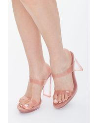 Forever 21 Semi-translucent Lucite Block Heels - Pink