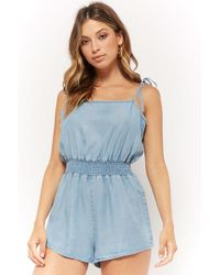 ce2060d57b9d Forever 21 - Women s Self-tie Chambray Playsuit - Lyst