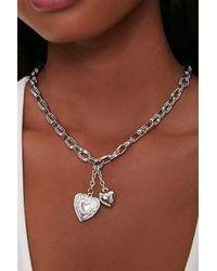 Forever 21 Heart Locket Pendant Necklace - Metallic