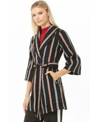 Forever 21 Striped Wrap Coat , Black