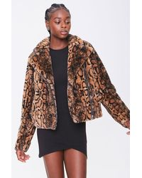 Forever 21 Faux Fur Animal Print Co - Brown